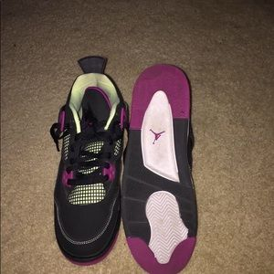 Black and fuchsia Air Jordan's